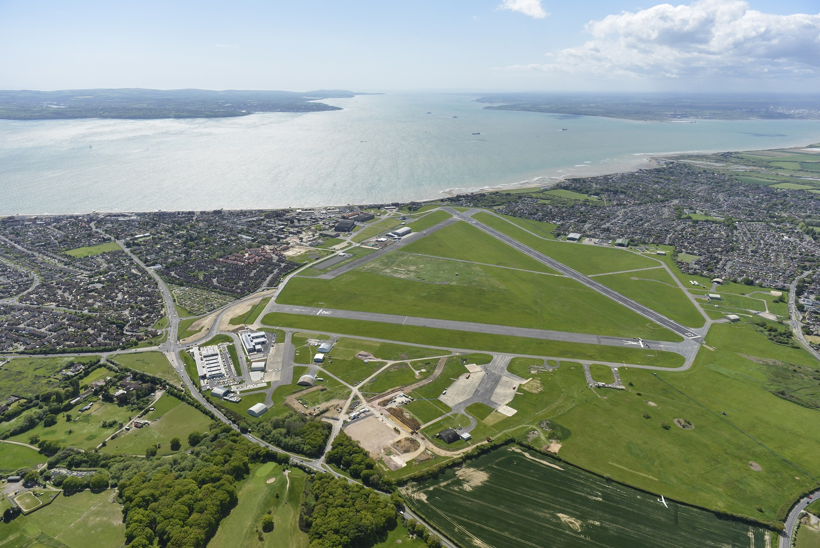 A birds-eye view of Solent Airport, formerly Daedalus, in Hampshire