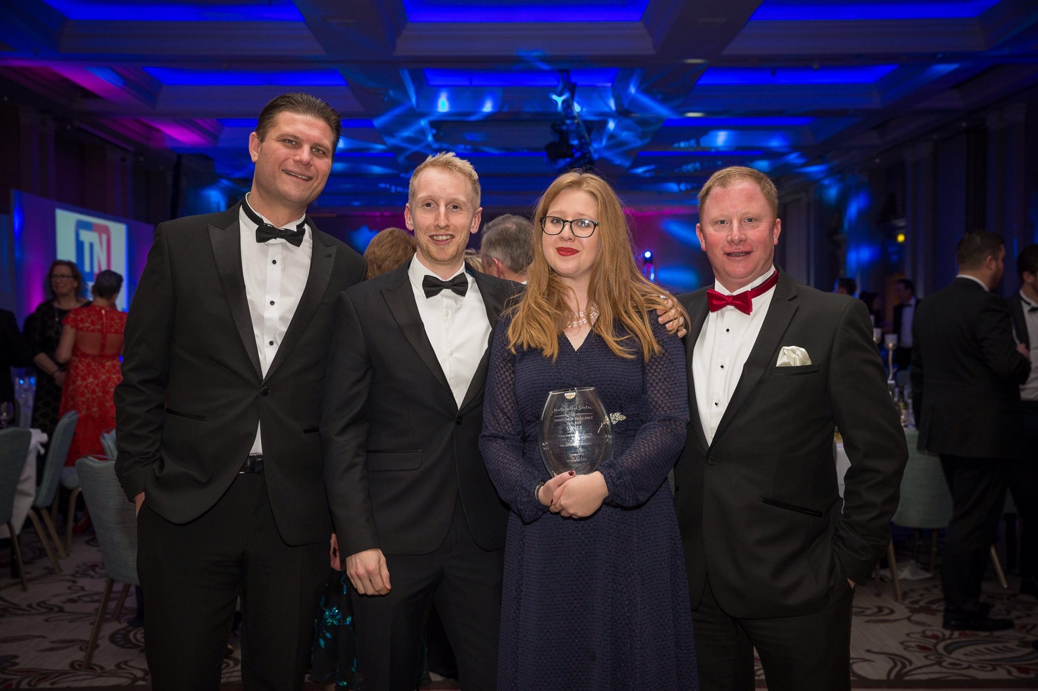Graeme Patfield of Polymedia (left) with the Mary Rose events team at the Beautiful South Awards